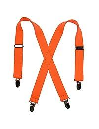 CTM® Kids' Elastic Clip-End 1 Inch Neon Suspenders, Neon Orange