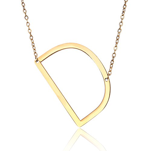 RINHOO Stainless Steel Gold Initial Alphabet 26 Letters Script Name Pendant Chain Necklace from A-Z(D)