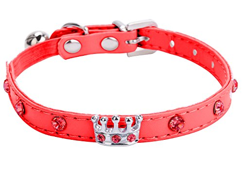 Crystal Crown Cat Collar with Bell Adjustable Red