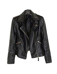 Hulione Women Biker Jacket Plus Size Casual Velvet Leather Jacket Coat Women Faux Leather Jacket