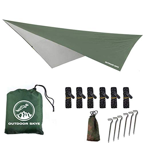 Outdoor Skye 10'x10' Rain Fly Hammock Tent Tarp for 2000PU Waterproof Protection - Large Canopy is Portable and Provides Ideal Shelter for Your Camping Hammock Or Tent (Army Green)