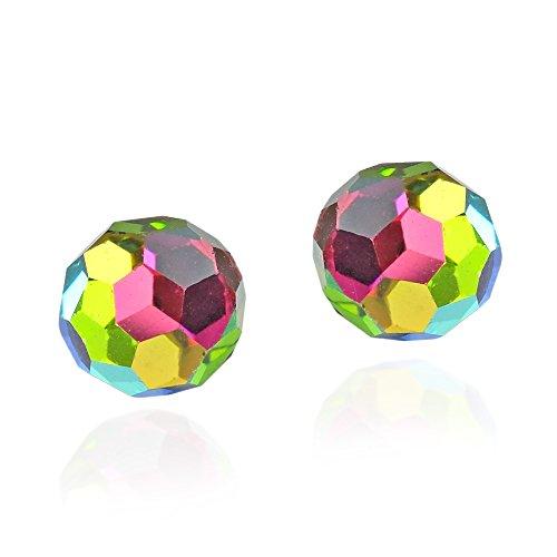 Rainbow Crystal Earrings (Rainbow Fashion Crystal Ball .925 Sterling Silver Stud Earrings)