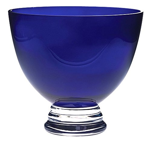 Barski Beautiful Handmade Glass Round Footed Bowl, Cobalt, , 9.5