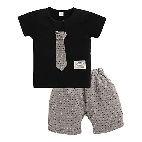 Hopscotch Baby Boys Cotton T-Shirt With Detachable Tie And Short Set in Black Color