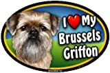 Oval Car Magnet - I Love My Brussels Griffon