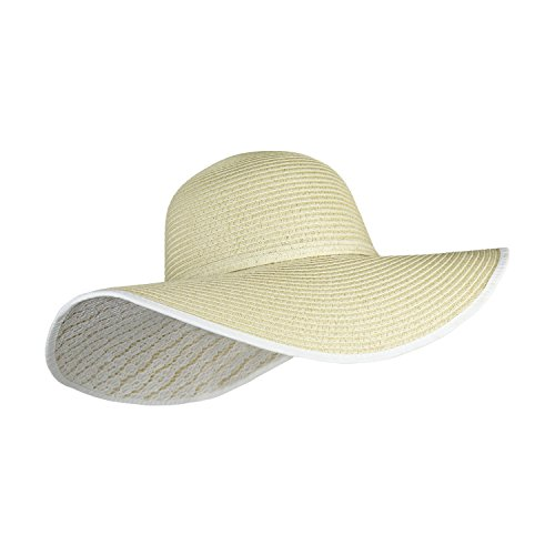 UPF 50+ Large Straw Floppy Kentucky Derby Sun Hat with Knot- Weaved Tweed Crushable Wide Brim Beach Cap with Floral Lace