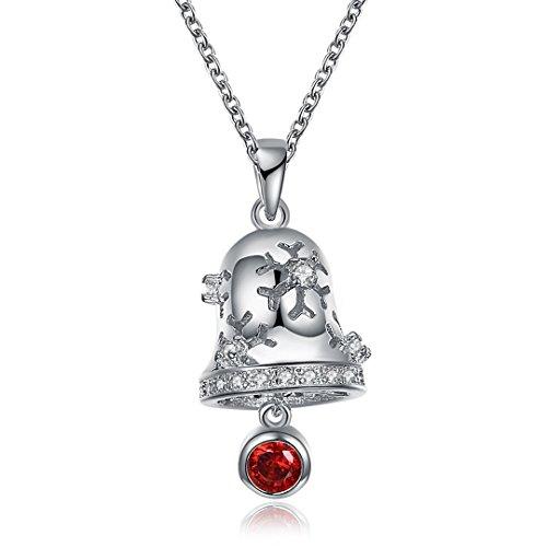 Christmas Series Snow Bells Pendant Necklace Platinum Charm Cubic Zirconia Chain 18 Inch - Platinum Bell