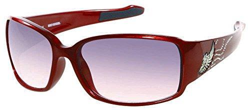 Harley-Davidson HDS8001RD-50 Red Frame Grey Pink Gradient Lens Sunglasses by Viva - Red Lens Gradient Frame Pink