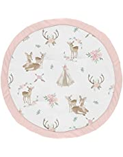 Sweet Jojo Designs Blush Pink, Mint Green and White Boho Watercolor Playmat Tummy Time Baby and Infant Play Mat for Woodland Deer Floral Collection