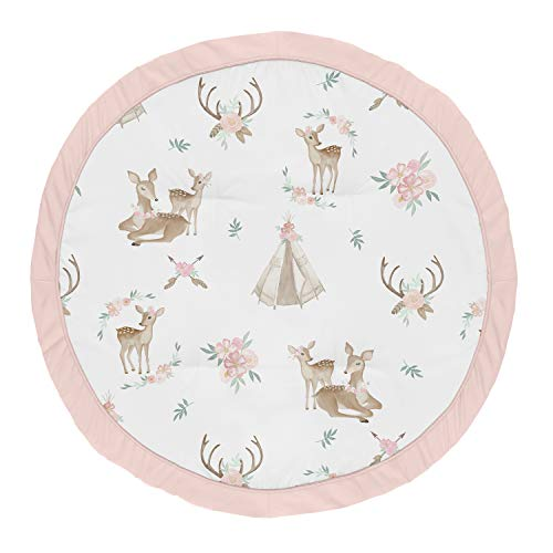 Sweet Jojo Designs Blush Pink, Mint Green and White Boho Watercolor Playmat Tummy Time Baby and Infant Play Mat for Woodland Deer Floral Collection ()