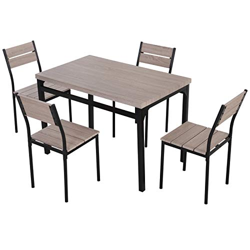HOMCOM 5 Piece Transitional Style Dining Room Table Set with Chairs