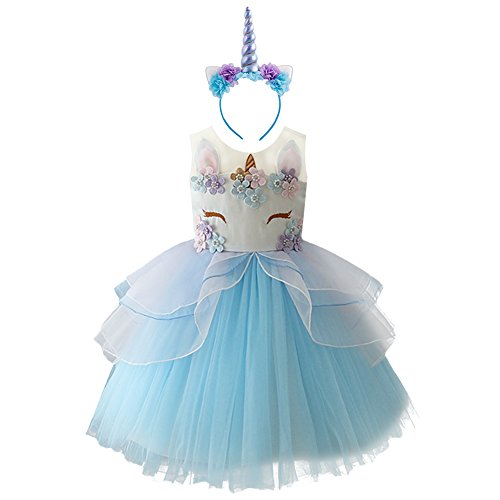 (Baby Girls Flower Unicorn Costume Cosplay Princess Dress Up Pageant Party Dance Outfits Short Evening Gowns 2pcs Blue Outfits 6-7)