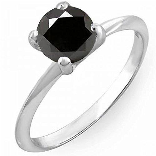 Dazzlingrock Collection 2.00 Carat (ctw) 10K Black Diamond Bridal Engagement Solitaire Ring 2 CT, White Gold, Size 6 ()