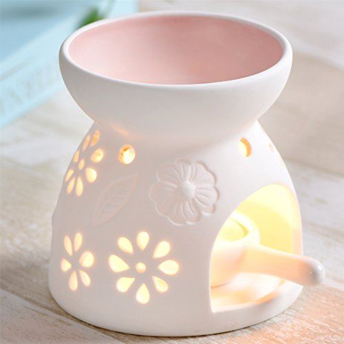 Ceramic Essential Oil Warmer By Jinvun : For Meditation, Aromatherapy - Fragrance Diffuser Used With Tea Lights -Ideal For Wedding Gifts & Indoor, Outdoor Gatherings - Decoration Air Freshener (Light Pink Stoneware)