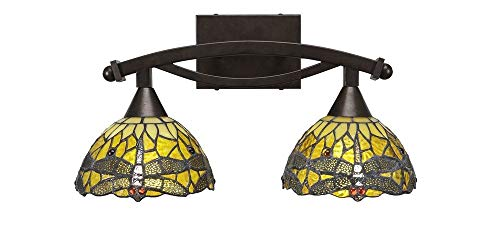 Toltec Lighting 172-BRZ-9465 Bow - Two Light Bath Bar, Bronze Finish with Amber Dragonfly Tiffany Glass