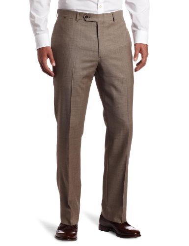 Tommy Hilfiger Mens Flat Front Trim Fit 100% Wool Suit Separate Pant, Tan Solid, 40W x 30L