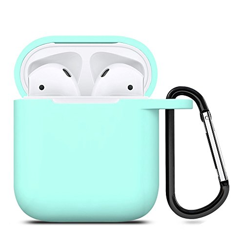 ZALU Compatible for AirPods Case with Keychain, Shockproof Protective Premium Silicone Cover Skin for AirPods Charging Case 2 & 1 [Front LED Not Visible] [Wireless Rechargeable](Mint Green) ()