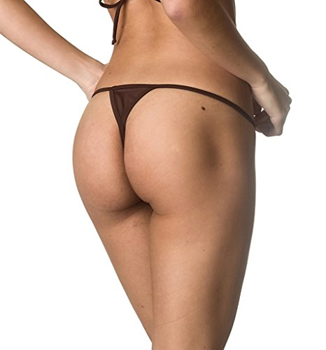COQUETA Swimwear Brazilian Teeny Micro Thong Mini Bikini Swimsuit G String BROWN-MD