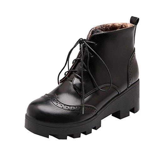 Kjære Tiden Kvinner Brogue Blokk Hæler Ankel Boots Svart