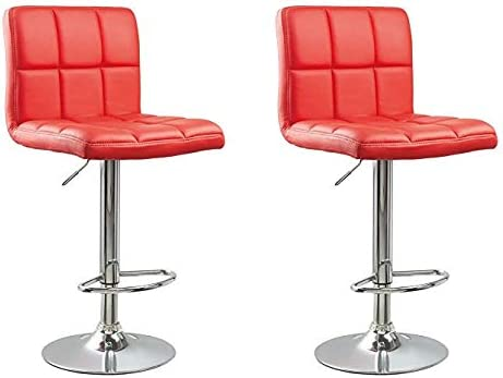 Incredible Gtu Furniture Set Of 2 Adjustable Swivel Leather Bar Stools Counter Height Square Kitchen Dining Chairs With Chrome Base Red Camellatalisay Diy Chair Ideas Camellatalisaycom