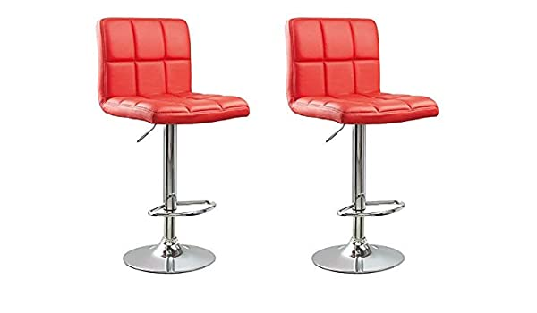 Strange Gtu Furniture Set Of 2 Adjustable Swivel Leather Bar Stools Counter Height Square Kitchen Dining Chairs With Chrome Base Red Gmtry Best Dining Table And Chair Ideas Images Gmtryco