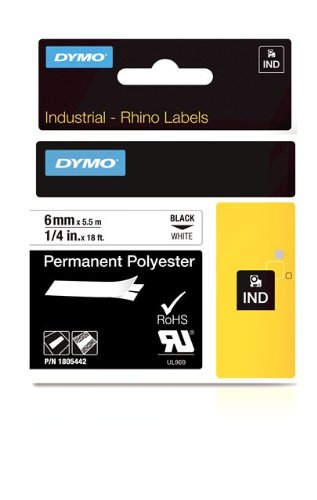 DYMO Rhino Permanent Adhesive Polyester Label Tape, 1/4 (Permanent Polyester Labels)