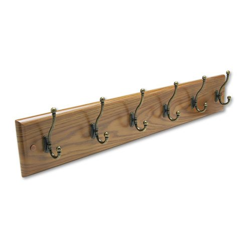 Safco® - Wall Rack, Six Double-Hooks, Wood, Medium Oak - Sold As 1 Each - Mounts singularly or in a series as needs grow.