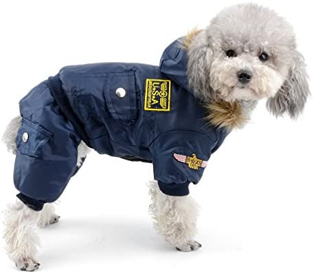 SELMAI Waterproof Fleece Lined Dog Winter Coat Snow Suit Airman Hooded Jumpsuit Snowsuits for Small Dog Puppy Chihuahua Blue L