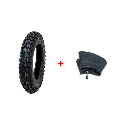 BUNDLE Tire with Inner Tube: Mini Dirt Bike Knobby Tire Size 2.50-10 + Matching Inner Tube Size 2.50-10 TR87 Bent Valve ()