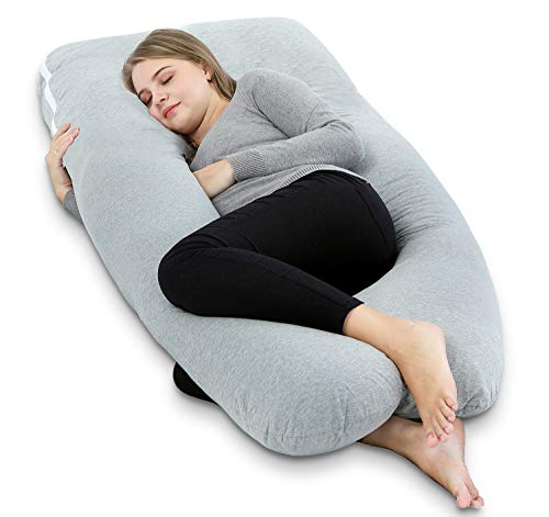 AngQi Full Body Pregnancy Pillow, U Shaped Maternity Pillow for Back Pain Relief and Pregnant Women, with Body Pillow Jersey Cover, 60-inch, Grey