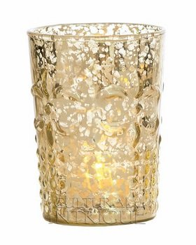 Luna Bazaar Vintage Mercury Glass Vase or Candle Holder (4-Inch, Fleur Design, Flower Motif, Gold) - for Home Decor, Party Decorations, and Wedding Centerpieces
