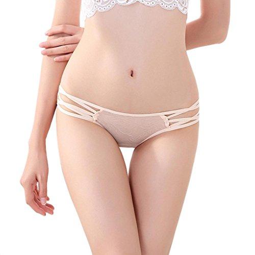 VENMO Encaje de la Mujer Cruz Correas Bragas Breves Bikini Beige