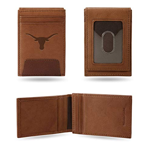 Rico Industries, Inc. Texas Longhorns Premium Brown Leather Money Clip Front Pocket Wallet Embossed University of