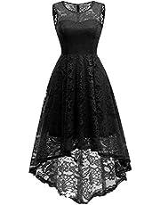 MUADRESS Elegant Kleid aus Spitzen Damen Ärmellos Unregelmässig Cocktailkleider Party Ballkleid