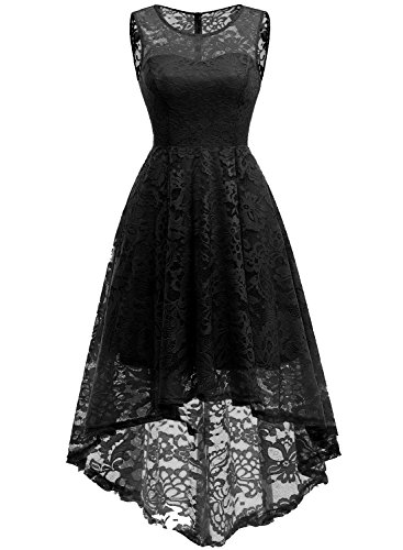 MUADRESS 6006 Women's Vintage Floral Lace Sleeveless Hi-Lo Cocktail Formal Swing Dress XS Black