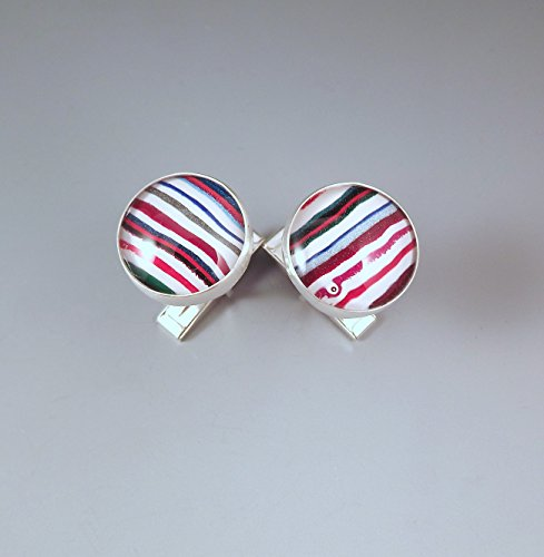 Fordite- Super Stripes- Brilliant Colors- Michigan Jewelry- Men's Jewelry- Sterling Silver Fordite Cufflinks by RedPaw