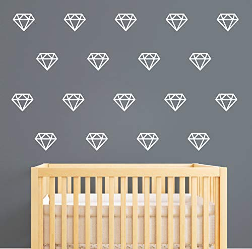 Diamond Wall Decals,Wall Art, Geometric Decor,Vinyl Wall Stickers for Baby Kids Bedroom Nursery Decoration(A15) (White)