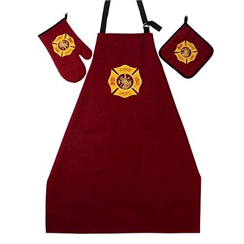 (TreasureGurus, LLC Fire Dept BBQ Grill Kit Oven Mitt, Hot Stove Pot Holder, FF Apron 3 Pc)