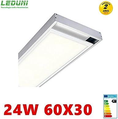 LEDUNI Panel Ultrafino LED 24W 60X30 Con Kit de Superficie Completo Color Blanco Frío 6500K Angulo 120 IP40 OPAL Borde Blanco
