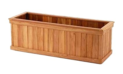 Amazon.com : Teak wood planter flower box garden 48