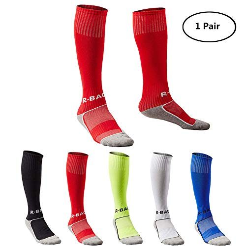 (Kids Long Soccer Socks Sports Team Tube Compression Stockings Knee High Football Socks)