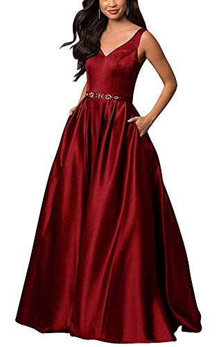 RJOAM-Prom Dress A Line V Neck Lace-Up Back Sleeveless Long Beaded Evening Formal Dress with Pockets Burgundy