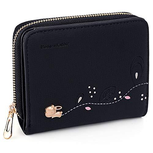 (UTO Small Wallet for Women PU Leather Rabbit Card Holder Organizer Girls Zipper Coin Purse)