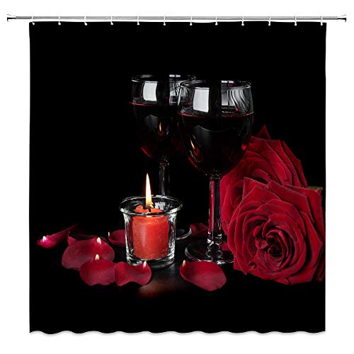 LIVEFUN Valentine's Shower Curtain Rose Romantic Flowers and Wine for Lover Red Floral Blooming Bathroom Decoration Sets, 72 x 72 inches Fabric with 12 Hooks,Black