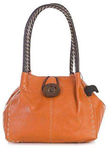 4 Pu de sintético Shop One hombro Handbag Naranja Grado mujer al Bolso para Big Y1PwOXqW