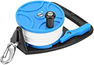 Diving Reel Scuba Diving Multi‑Purpose Reel with Handle Buckle 83m/289ft White Nylon Line Combination