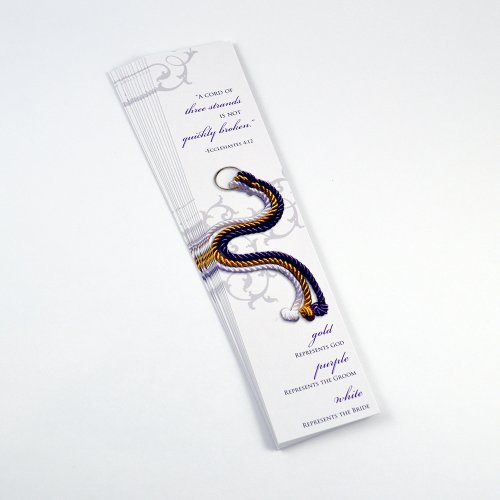 Wedding Bookmarks - Cord of Three Strands Bookmarks - Pack of 20