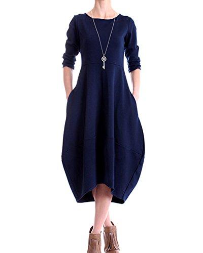 Navy Dress Hem Tulip - AUDATE Women's Long Sleeve Crew Neck Bubble Hem Baggy Tunic Swing Midi Dress Navy XL