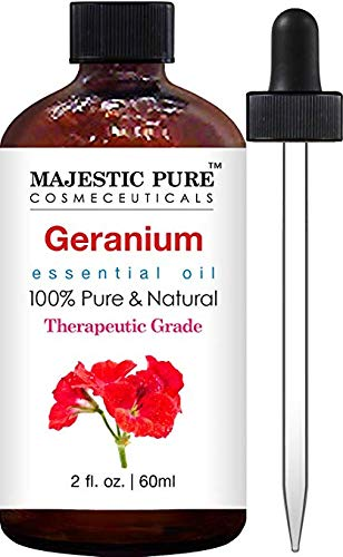 Majestic Pure Geranium Essential Oil, Therapeutic Grade, Authentic 100% Pure and Natural Geranium Oil, 2 fl. oz