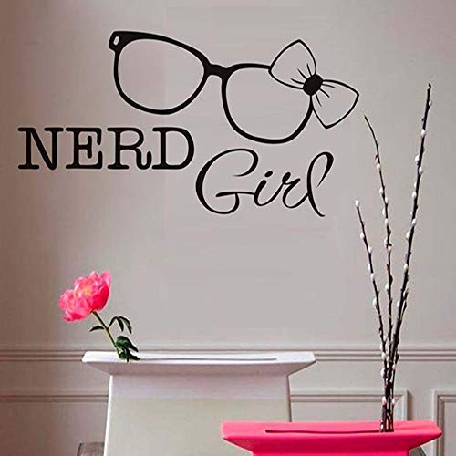 (anda Attlee Individuality Vinyl Wall Sticker Decal Nerd Girl Wall Stickers Glasses Bow Tie Wall Decals Removable Vinyl Art Decal Home Decor for Girl Bedroom 43)